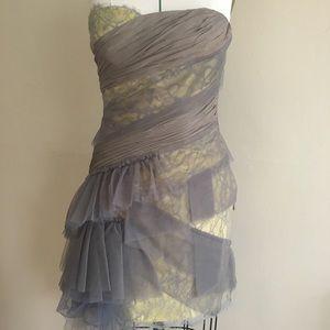 Strapless Lace & Tulle wt Asymmetric Hemline Gown